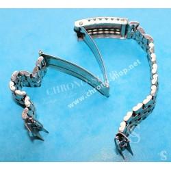 Rare Vintage bracelet 18mm Mailles pliées Montres acier années 60-70 Universal Genève, Breitling, Omega, heuer, IWC, Jaeger
