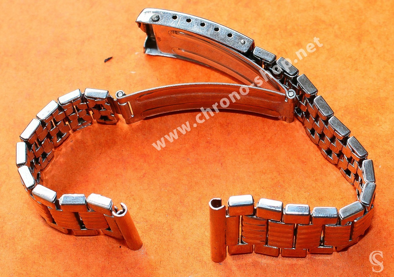 Rare 70's  Swiss band Ssteel NSA style Watch Folded links Sport Bracelet Zenith, Longines, Heuer 18mm ends