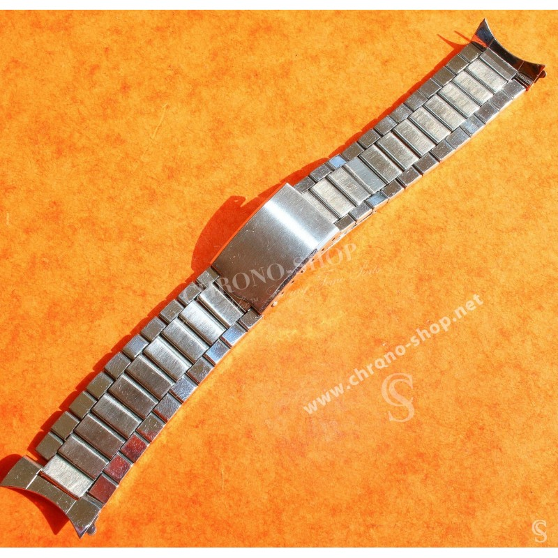 Unsigned flat-link, folded links, 1960s watch Steel band Bracelet for Seamaster 300 Omega Speedmaster