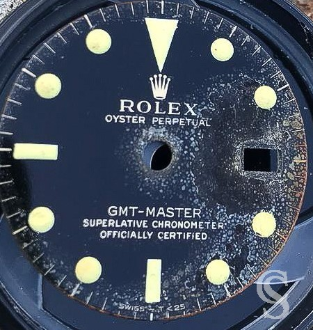 Rolex Vintage 1964 Rare & Authentic Watch Part Screwed Caseback Umpolished Steel GMT MASTER 1675 Gilt IV.64