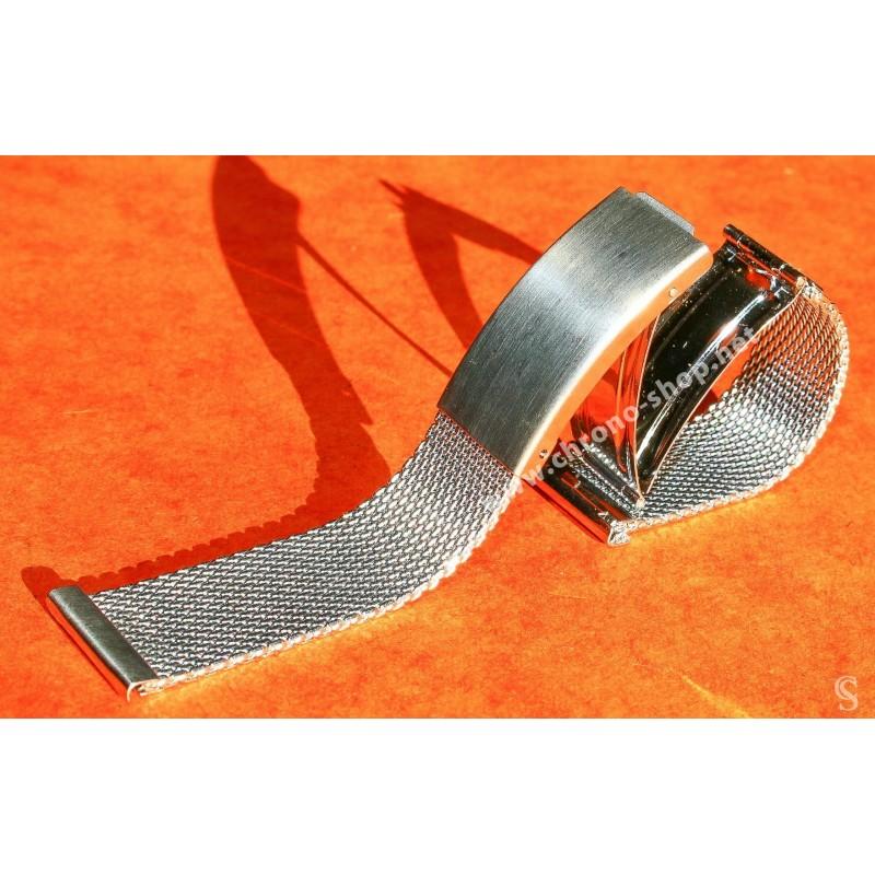 Vintage & Rare 20mm Elegant steel mesh watch bracelet divers band NOS 1950s/60s Breitling, Omega, IWC, Tissot