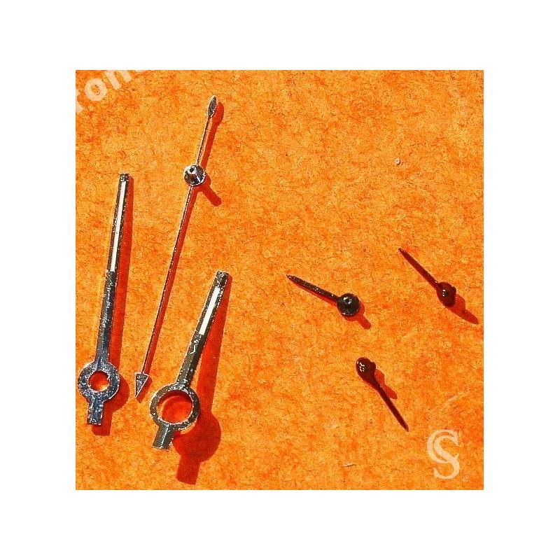Tudor Vintages Set aiguilles Tritium Noires & acier montres Prince Chronograph Steel 79280, 79260, 79160, 79270 Cal Valjoux