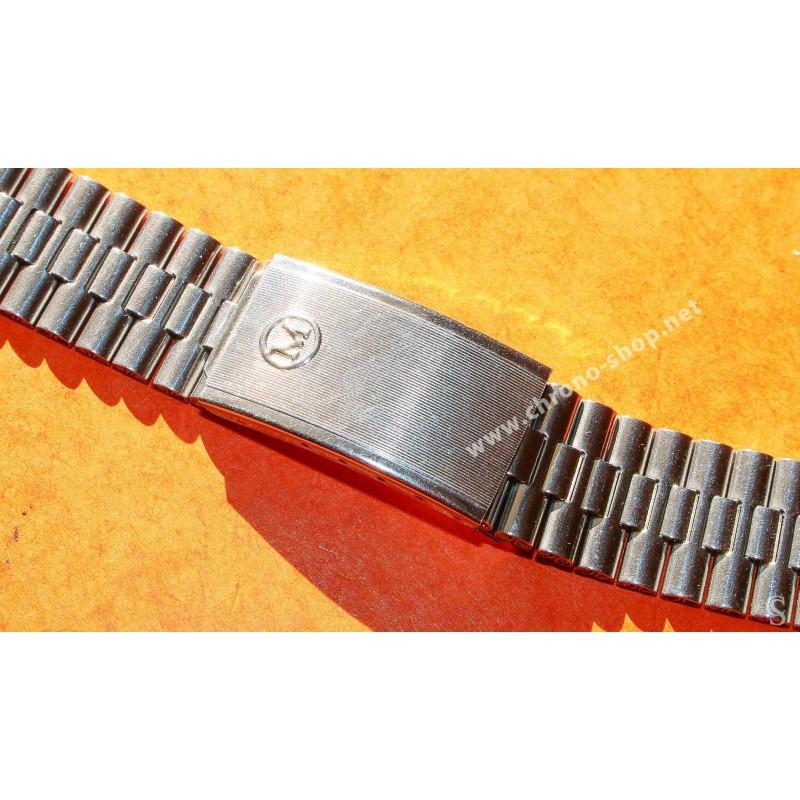 Rare 70's Swiss band Ssteel Watch Folded links Sport Bracelet Zenith, Longines, Heuer, Omega 18mm ends