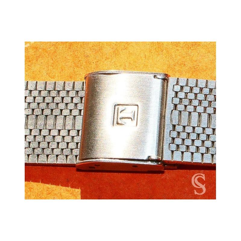 RONUK 70's Rare Swiss band Ssteel Watch Folded links Bracelet Zenith, Longines, Heuer,Omega 18mm ends