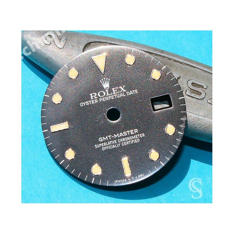 Vintage Rolex GMT Master tritium 16750 Cal 3075 glossy Watch part dial, 1980`s RARE