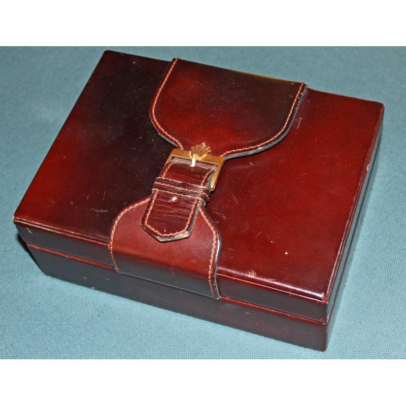 Vintage Luxury Estate Rolex Leather & Wood Watch Box from Daydate, President, Daytona
