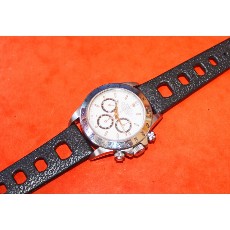 Rolex Daytona 16520, 116520, 116528, 116523, Racing Black rubber 20mm Tropic strap type oval holes vintage