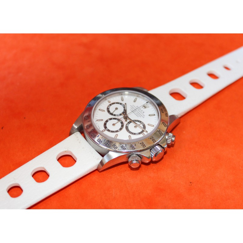 White 70's Rolex Daytona 16520, 116520, 116528, 116523, Racing 20mm Tropic strap round holes
