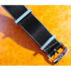 OMEGA Authentique Bracelet Nato 21mm nylon noir avec bordure grise boucle & passants acier inoxydable Ref STZ001885 32 IJF