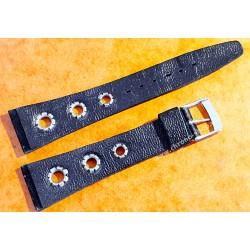 Bracelet velours noir type rally, racing, perforé vintage 20-14mm montres anciennes