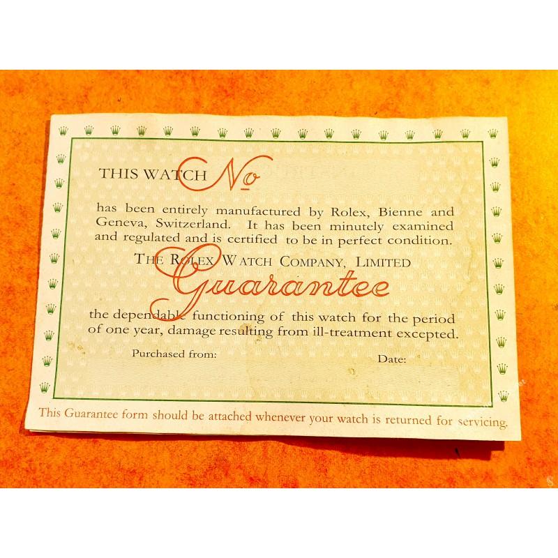 Rolex Vintage 1966 Garantie Vierge papier document ref RP 1233.V.66-60 M HAEFELI & Co Montres GMT, Submariner,Daytona,Explorer