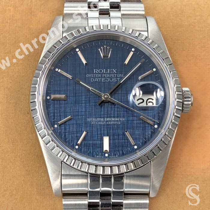 GENUINE MENS ROLEX DATEJUST 16220 ENGINE TURNED BEZEL FLUTED Stainless Steel S/S Watch Bezel Part Ø34.50mm