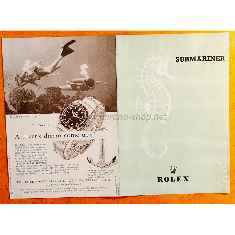 ROLEX COLLECTIBLE SUBMARINER BROCHURE 1960 ANNI 50/60 Ref 5510 Big Crown Vintage Booklet