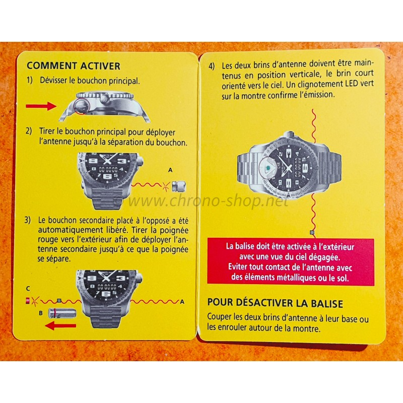 BREITLING WATCH YELLOW CARD ACTIVATE RESCUE DISTRESS BEACON BREITLING EMERGENCY II REF E76325,E7632522,V7632522