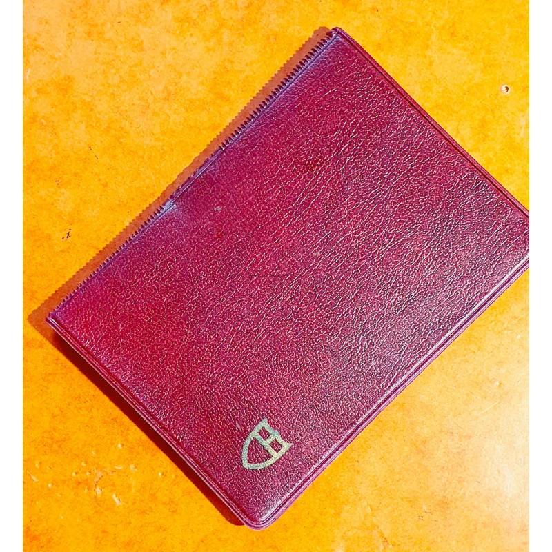 Tudor Vintage Red purple Leather Business Document Guarantee