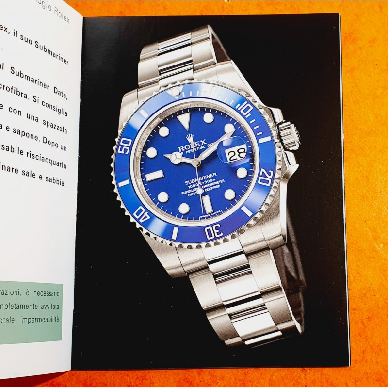 Rolex 2011 Genuine Instructions Manual Italian Language Booklet Submariner Date 116610, 116618,116613 Submariner 114060 watches