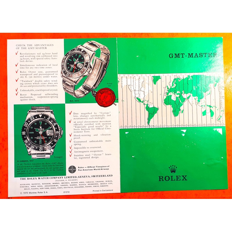 ROLEX 1970 GMT MASTER 1675, 1675 pcg, cornino COLLECTIBLE VINTAGE ANTIQUE ENGLISH BROCHURE BOOKLET LIBRETTO OLD GMT