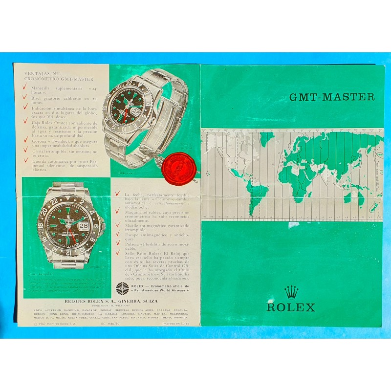 Rolex Rare vintage 1967 Livret Document espagnol Notice Montres anciennes ROLEX GMT MASTER REF 1675, Cornino, Pointed Crown
