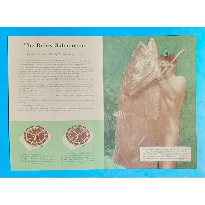 ROLEX 1960 VINTAGE MONTRES ROLEX SUBMARINER BIG CROWN 5510 BROCHURE,MANUEL,LIVRET AUTHENTIQUE