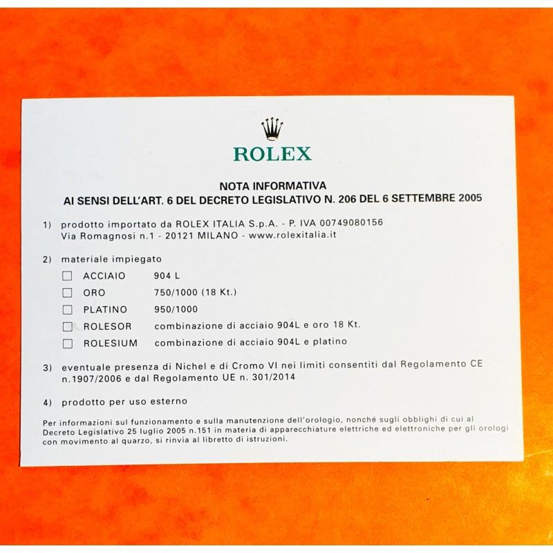 Rolex INFORMATIVE NOTE paper document Italian...