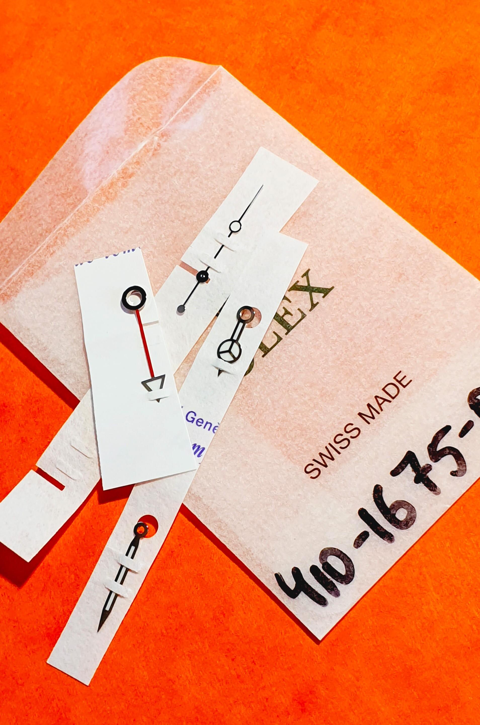 Rolex Authentique Set aiguilles Luminova ref 410-1675-0 neuves de stock Montres GMT MASTER 1675 Cal 1575,1565