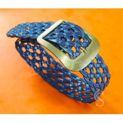VINTAGE & SUPER RARE 70's BRAIDED RETRO STYLE WATCH STRAP BLUE COLOR 18mm