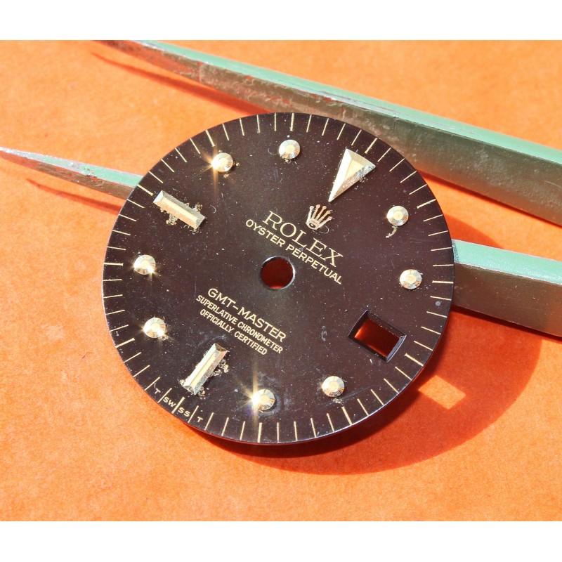 VINTAGE ROLEX GMT MASTER 1675/3 1675/8 CADRAN OR NOIR NIPPLE DIAL BEYELER GENEVE cal 1575