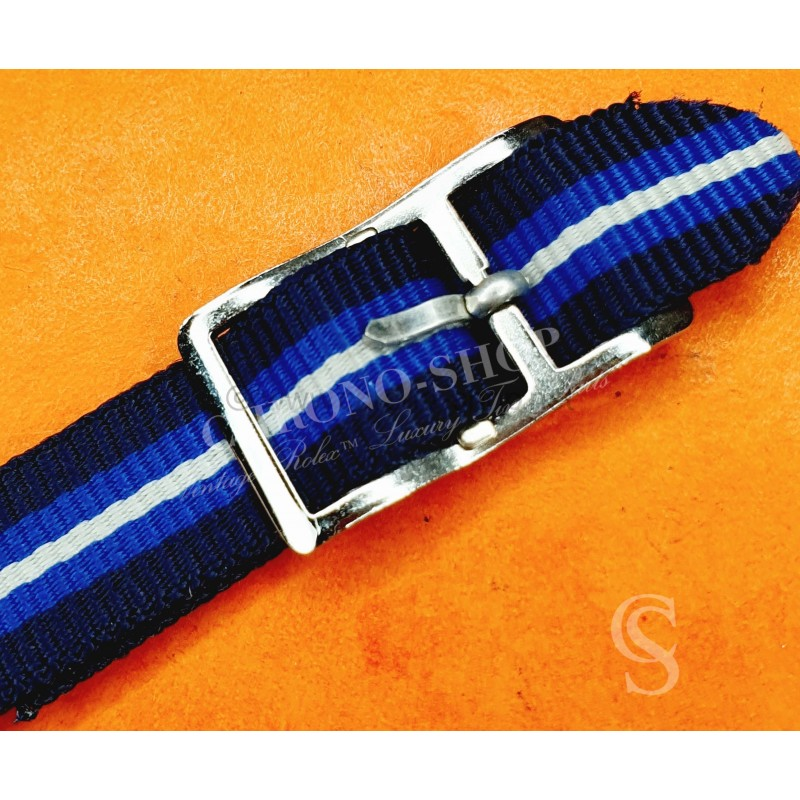Collectable Vintage 10mm New Old Stock Ladies Nylon Nato Strap White & blue colors Watch strap