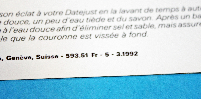 VINTAGE 1992 LIVRET ROLEX DATEJUST 16014, 16234, 16078, 68278, 69178 & Lady Datejust language Français