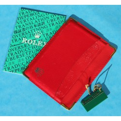 1993 PORTEFEUILLE / PORTE CARTES ROLEX CUIR ROUGE VINTAGE +  LIVRET TRANSLATION + TAG VERT
