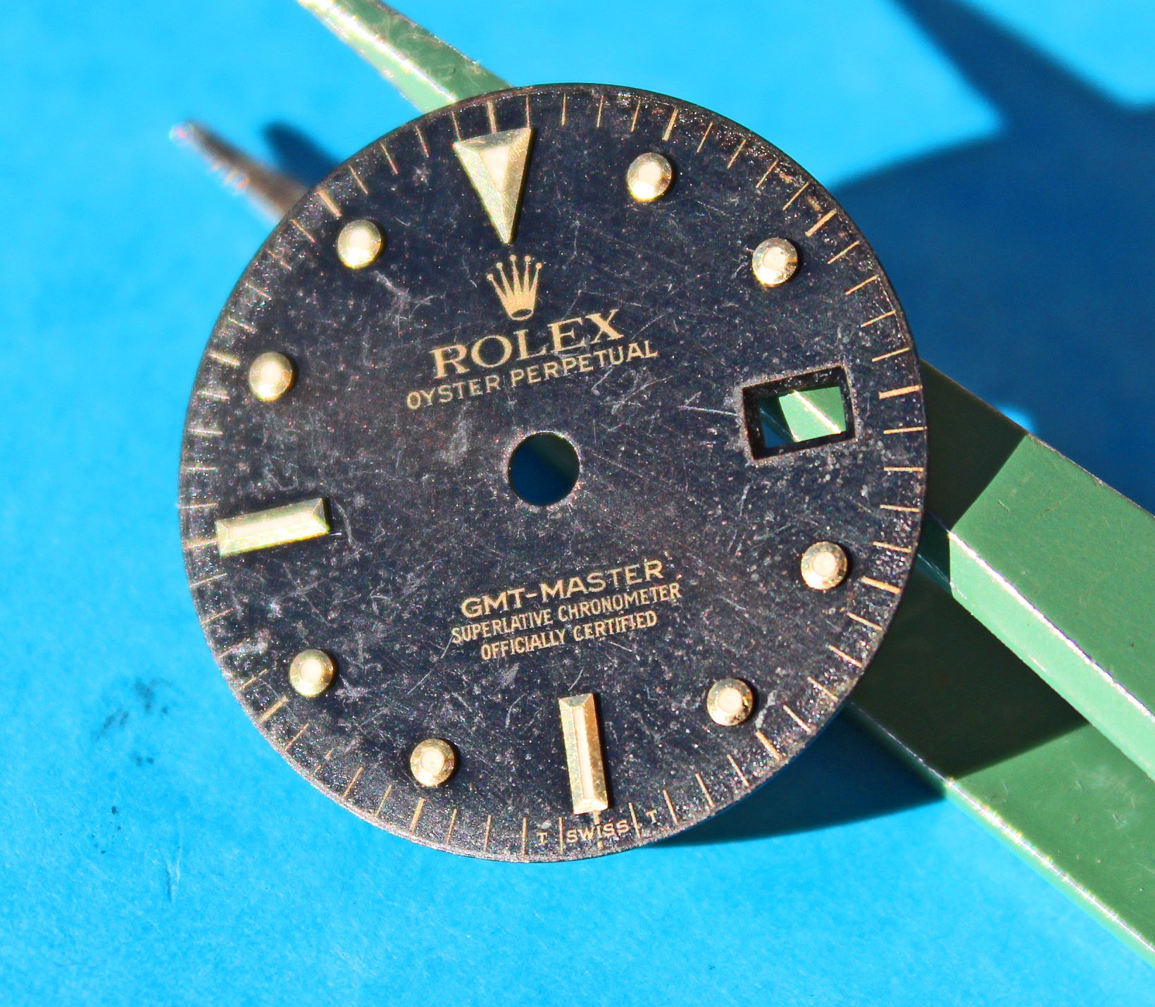 "Very rare Transition Rolex GMT Master II ""Nipple dial"" Black Dial 16713, 16718 cal.3185 Gold & tutone models watches"