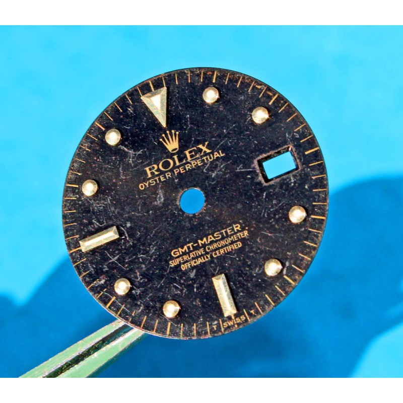 RARE CADRAN GMT MASTER II 16713, 16718 TRITIUM NOIR BRILLANT OEIL DU TIGRE -NIPPLE DIAL- cal 3185