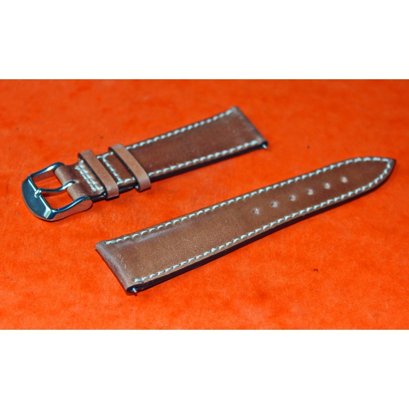 Whiskey bracelet stitched Shell cordovan leather watch strap 21mm fits on Breguet type XX 3800 Aeronavale, Transatlantique 3820