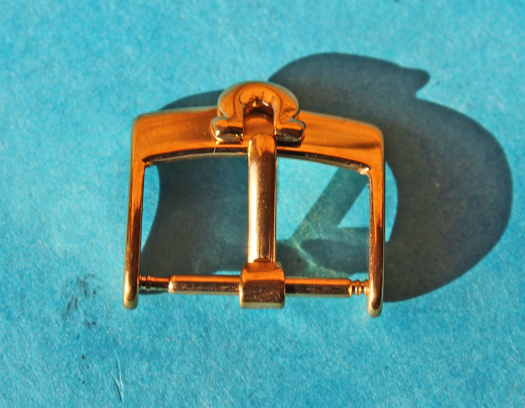 70's WRIST WATCH OMEGA BIG LOGO STRAP BAND BUCKLE 16MM GOLD PLATED