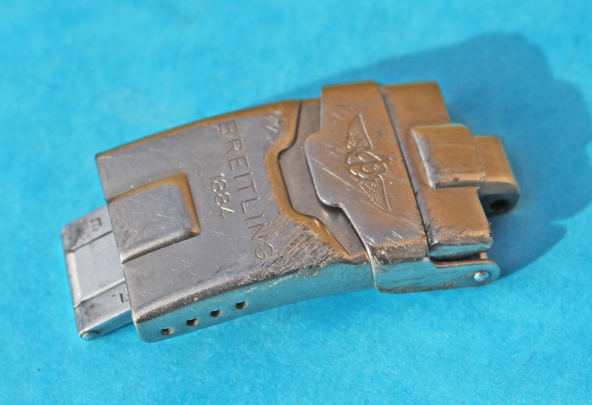 GENUINE BREITLING FOLDING DEPLOYANT CLASP BUCKLE BRACELET S/S 19.80mm PREOWNED