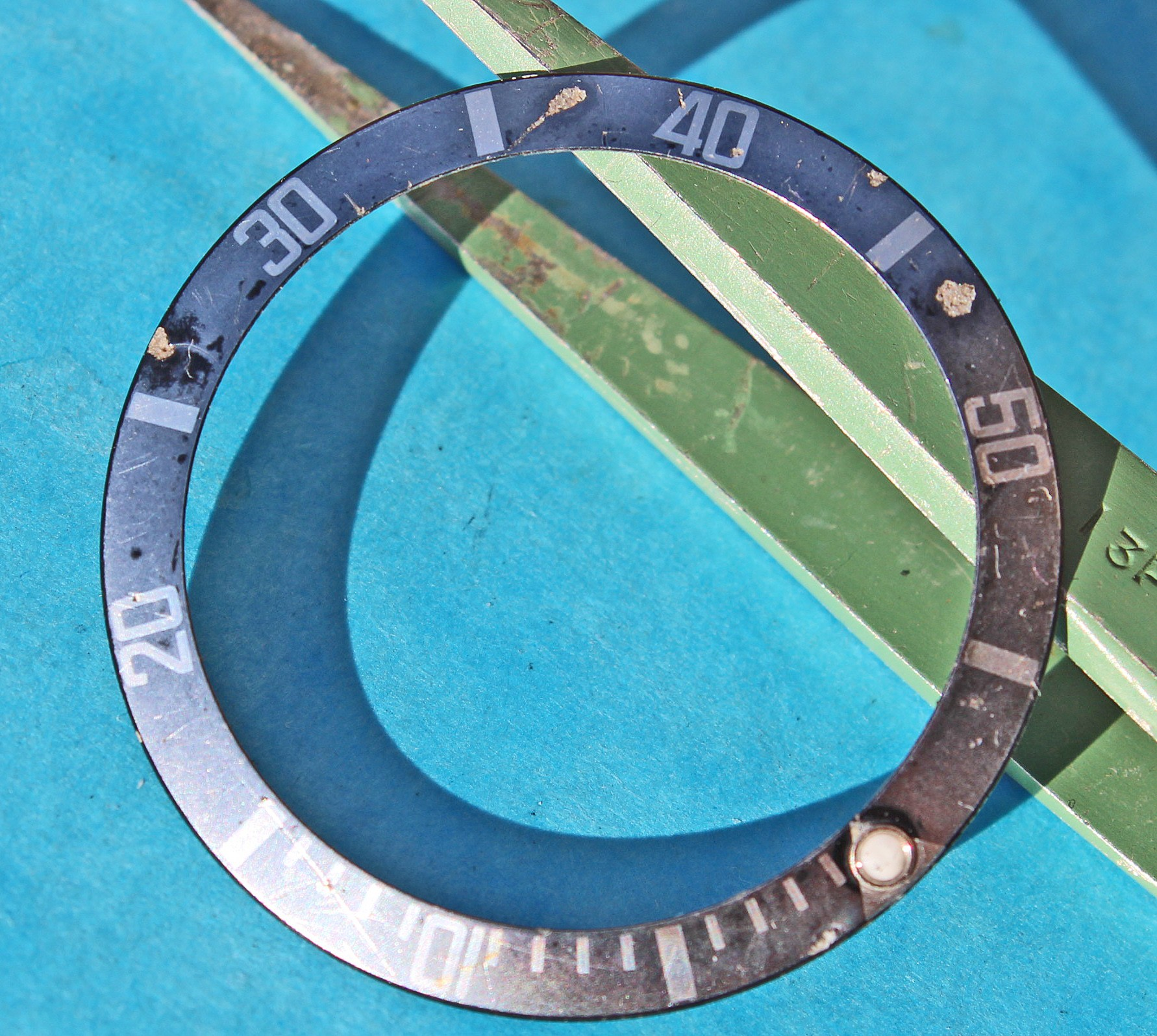 Freaky Faded Rolex Submariner Bezel Insert Black Stainless Steel 16800/0 16610 aged