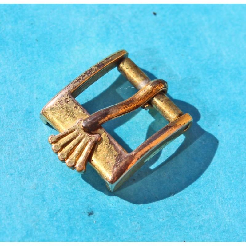VINTAGE & ORIGINALE 70's BOUCLE ARDILLON ROLEX BIG LOGO PLAQUE OR EN 12mm / 10mm pour modèles bracelets mediums