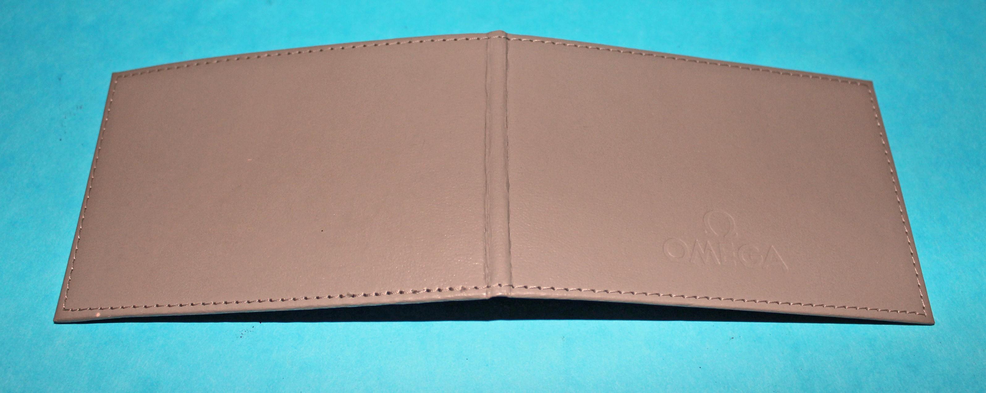 omega watch grey leather  blank warranty card holder