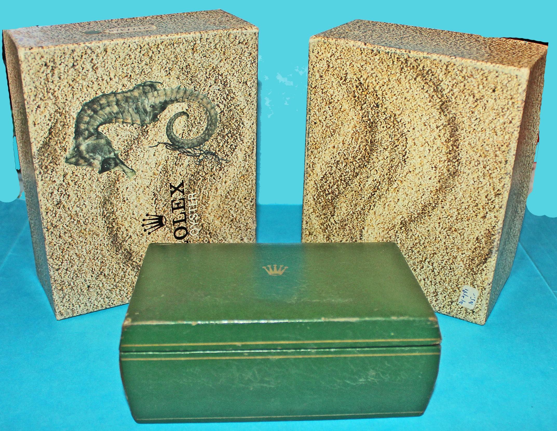 ♛♛ Antique 60's Rolex Seahorse Asymmetric Box & case Submariner & GMT 5513, 1680, 1675, 1665, 5512 outside box & box full set ♛