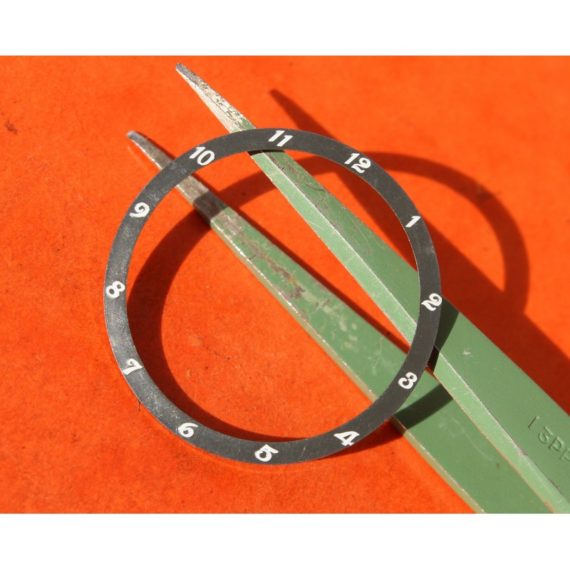 VINTAGE 70's LUNETTE BEZEL INSERT NOIR FADED PLASTIQUE OMEGA 32mm