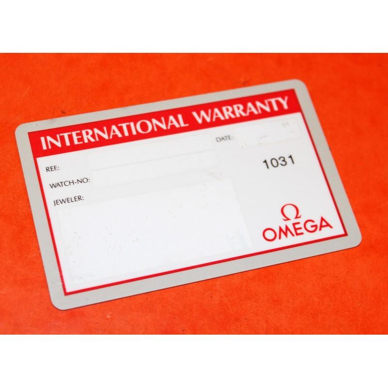 AUTHENTIQUE CARTE GARANTIE VIERGE MONTRES OMEGA INTERNATIONAL WARRANTY 1031