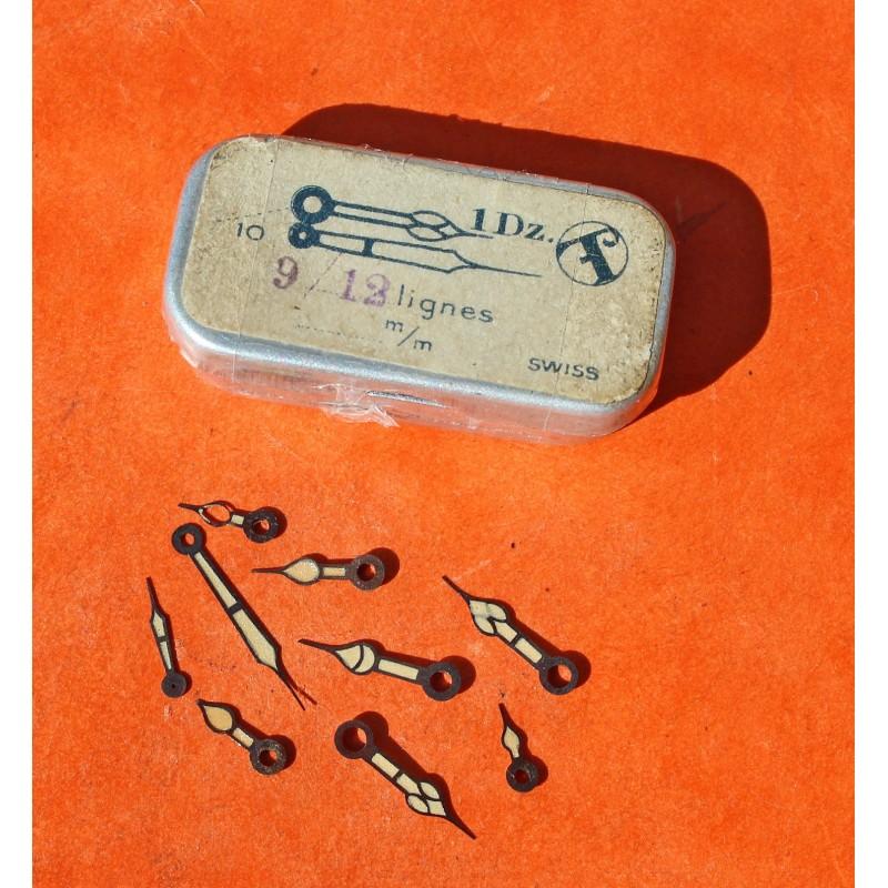 VINTAGE LOT D'AIGUILLES TRITIUM MONTRES années 40-50 ref 9 / 12 LIGNES mm T SWISS SECONDE, TROTTEUSE, HEURES
