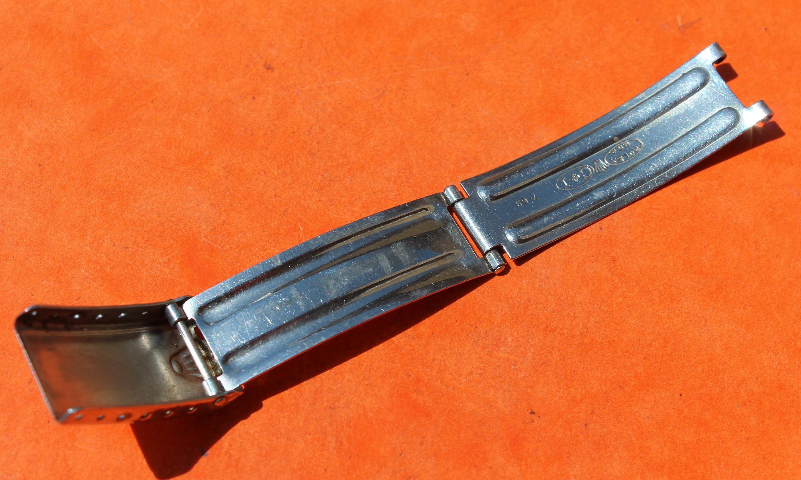 """♛ RARE 1963 VINTAGE 50's FERMOIR DÉPLOYANT USA CI  """"BIG LOGO"""" ROLEX BRACELETS EN 19mm RIVETS ♛"""