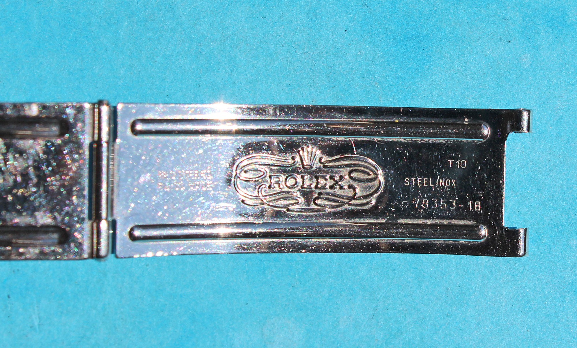 Vintage 1995 ROLEX Clasp deployant buckle Oyster Steel Watch Band Ref 78353-18 for bracelets tutone gold a ssteel 19mm code T10