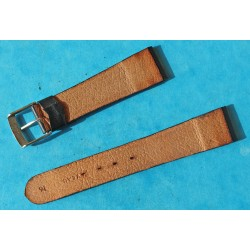 VINTAGE 70's LEATHER CALF WATCHES STRAP BLACK COLOR 16mm WITH BUCKLE 14mm MEASURES