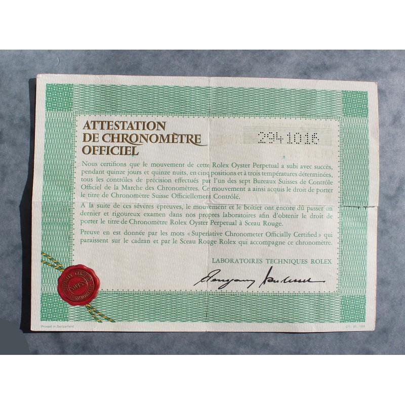 RARE 1973 GENUINE VINTAGE PUNCHED PAPER CERTIFICAT ATTESTATION DE CHRONOMETRE ROLEX OYSTER WATCHES
