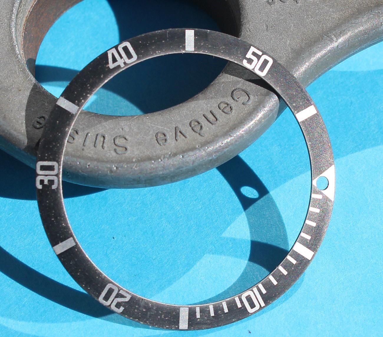 ORIGINAL VINTAGE FADED ROLEX BEZEL INSERT FAT FRONT MONTRES SUBMARINER 5513, 1680, 5512, 1665, 5508, 6538 Mk II