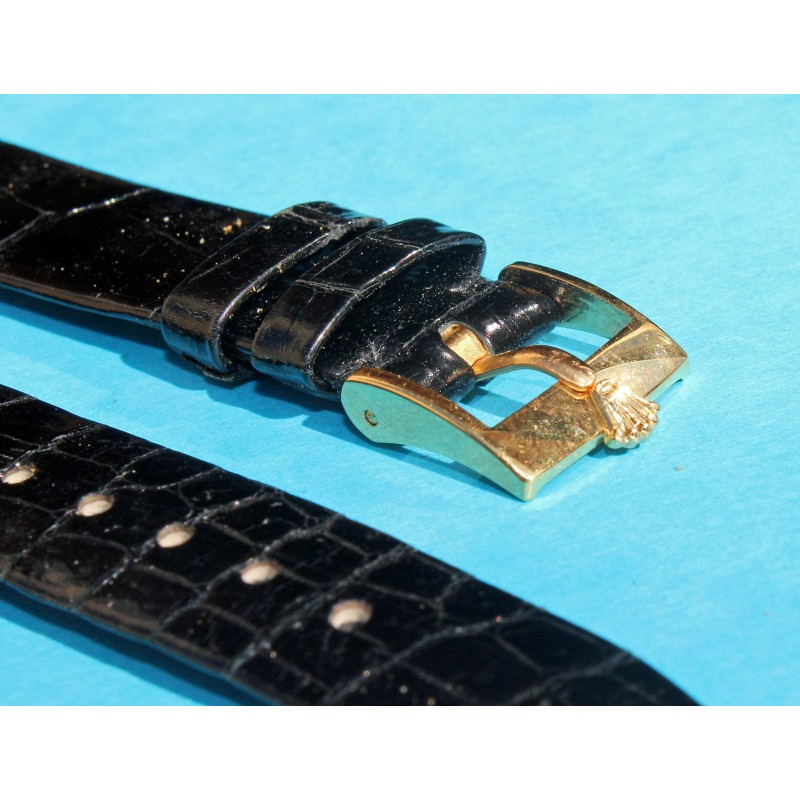 """Genuine Lizard 17mm New """"Old Stock"""" Brown Strap Rolex, 17mm S/S gold filled Buckle"""