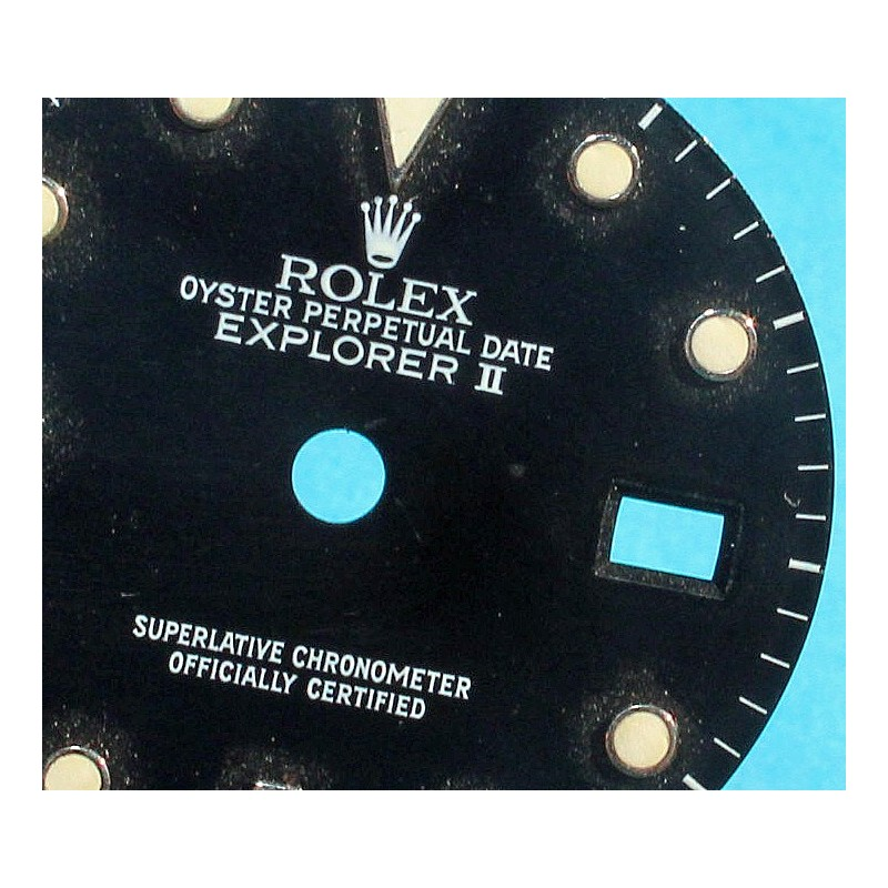 ROLEX N.O.S VINTAGE CADRAN CRÈME ORIGINAL EXPLORER II 2 DATE BLANC 16550 TRITIUM CAL 3085