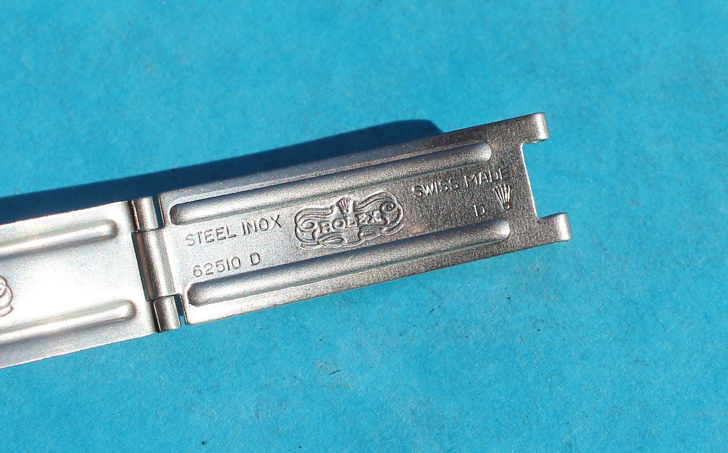 Genuine Ladies Rolex Datejust watches Shield center Clasp 11mm for a 13mm Bracelet, Stainless Steel ref 62523D, 7834, 6251D